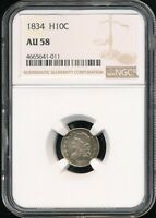1834 CAPPED BUST HALF DIME NGC AU 58 AREAS OF ATTRACTIVE RAINBOW TONING