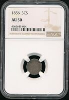 1856 3C SILVER 3 CENT PIECE NGC AU 50  STONE COLD ORIGINAL