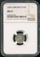 1854 SEATED LIBERTY HALF DIME NGC MINT STATE 61 3-YEAR TYPE COIN WITH ARROWS