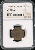 1864 LARGE MOTTO 2C 2-CENT PIECE NGC MINT STATE 62 BN SHARP, CHOCOLATE BROWN