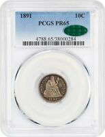 1891 10C PCGS/CAC PR 65 - BEAUTIFUL TONING - SEATED LIBERTY DIME
