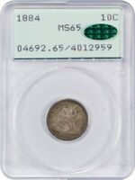1884 10C PCGS/CAC MINT STATE 65 OGH RATTLER HOLDER FIRST GENERATION PCGS HOLDER