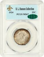 1924 25C PCGS/CAC MINT STATE 67 EX: D.L. HANSEN - BEAUTIFUL - STANDING LIBERTY QUARTER