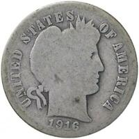 1916 S BARBER DIME 90 SILVER ABOUT GOOD AG