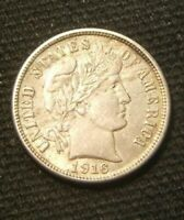 1916-S  SILVER  BARBER  DIME  LAST YEAR  AU BEAUTY