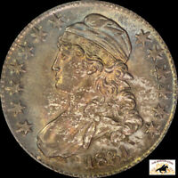 1831 CAPPED BUST HALF DOLLAR PCGS MINT STATE 64 CAC TONED