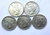 1923 24 25 26 &1928 S PEACE DOLLAR LOT  OF 5 MIXED GRADE SAN FRANCISCO COINS