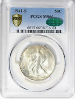 1941-S PCGS MINT STATE 66 CAC WALKING LIBERTY SILVER HALF DOLLAR-GEM  STRONG STRIKE