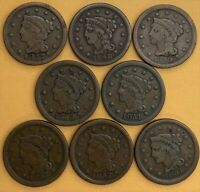 LARGE CENTS   CIRCULATED SELECTION  1847 1854  8 COINS