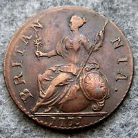 GREAT BRITAIN GEORGE III 1771 HALFPENNY US COLONIAL COIN COPPER HIGH GRADE