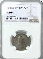 1930 PORTUGAL 50 CENTAVOS   MS64 NGC GRADED  PLEASING LUSTRE NICE COLOUR
