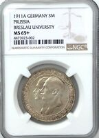1911A GERMANY 3 MARKS PRUSSIA BRESLAU UNIVERSITY NGC MS65  GEM NICE COLOUR