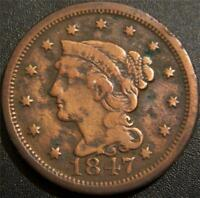 1847 LARGE CENT   LIBERTY IS READABLE.  SOME HAIR AND LEAF D
