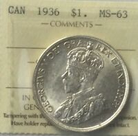 CANADA 1936 SILVER DOLLAR  ICCS MS 63 MINT STATE NICE  COLOUR NICE STRIKE XDG940