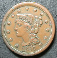 1856 SLANTING FIVE BRAIDED HAIR LARGE CENT COIN