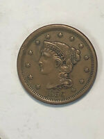 HIGH GRADE 1856 BRAIDED HAIR LARGE CENT WITH SAME DAY REASON