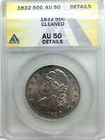 1832 BUST HALF DOLLAR SMALL LETTERS NICE  ANACS AU50 DETAILS LUSTROUS  EXAMPLE