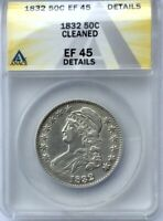 1832 BUST HALF DOLLAR SMALL LETTERS NICE  ANACS EF45  DETAILS LUSTROUS  EXAMPLE