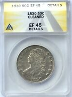 1830 BUST HALF DOLLAR NICE  ANACS EF45  DETAILS LUSTROUS  EXAMPLE