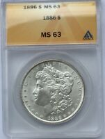 1886 P SILVER DOLLAR MS 63 ANACS ORIGINAL COIN REVERSE TONING LOOKS BETTER