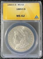 1889-S $1 MORGAN SILVER DOLLAR ANACS MINT STATE 62 TOUGH DATE