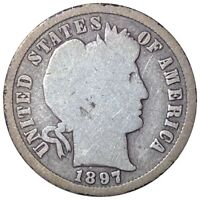 1897 S BARBER SILVER DIME RARE EARLY DATE 10C SAN FRANCISCO