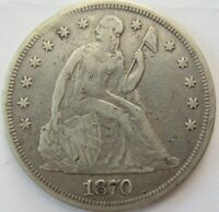 U.S. LIBERTY SEATED SILVER DOLLAR   1870