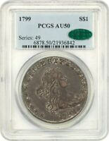 1799 $1 PCGS/CAC AU50 - GREAT BUST DOLLAR TYPE COIN - BUST SILVER DOLLAR