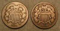 2 PIECE 1870 & 1871 TWO CENT PIECE UNITED STATES TYPE COIN L