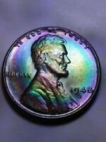 1948 D   WHEAT CENT TONED COIN LINCOLN CENT  MUST SEE