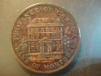 1842 QUEBEC CANADA LARGE PENNY  2 SOUS . BANK OF MONTREAL. E