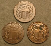 3 PIECE TWO CENT PIECE UNITED STATES TYPE COIN LOT  2 1864 &
