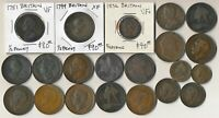 21 OLD BRITISH COPPER COINS & TOKEN  1751 & UP > SEE PICTURE