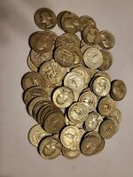 90  SILVER WASHINGTON QUARTERS. LOT OF  74  COINS. DATED 193