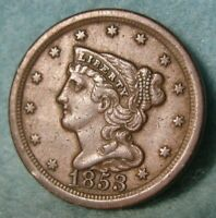 1853 BRAIDED HAIR HALF CENT HIGH GRADE UNITED STATES TYPE CO