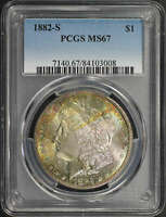 1882-S MORGAN DOLLAR PCGS MINT STATE 67 LIME GREEN AND RAINBOW TONING