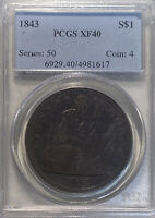 1843 PCGS XF40 S$1 SEATED LIBERTY ONE DOL.