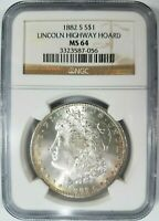 1882 S SILVER MORGAN DOLLAR NGC MINT STATE 64 LINCOLN HIGHWAY COLLECTION PEDIGREE COIN