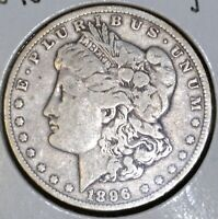 1896-O F FINE MORGAN SILVER DOLLAR $1 COIN