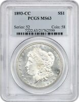 1893-CC $1 PCGS MINT STATE 63 - NEARLY PROOFLIKE - MORGAN SILVER DOLLAR