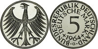 GERMANY: 5 MARK SILVER 1964 G - PROOF