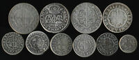 1711 1758  TEN OLD SPAIN SILVER COINS > HALF/ONE/TWO REALES