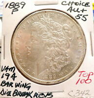 1889-P MORGAN SILVER DOLLAR CH AU, VAM 19-A BAR WING DBR TOP 100, ORIGINAL C342