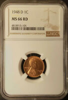 :1948-D 1C LINCOLN CENT KEY DATE NEAR-SUPERB-NGC MINT STATE 66 NATUAL RED HIGHEST-GRADES
