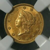 1853 LIBERTY HEAD $1 ONE DOLLAR UNITED STATES GOLD COIN NGC