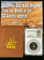 1857 SS CENTRAL AMERICA CALIFORNIA GOLD RUSH NUGGET .29G NGC