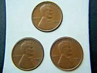 1945 P-D-S LINCOLN BROWN WHEAT CENTS SET OF 3
