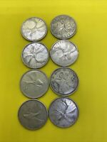 LOT OF 8 CANADA SILVER QUARTERS 1945 57 61 62 62 64 66 66
