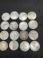 LOT OF 16 GEORGE V CANADIAN SILVER QUARTERS 92 1/2