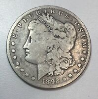 1892-S MORGAN SILVER DOLLAR BETTER DATE, LOW MINTAGE ORIGINAL LOOKING COIN F